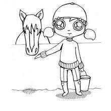 Mädchen und Pferd zum Ausmalen