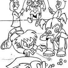 Spielende Kinder zum Ausmalen