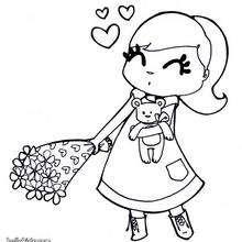 Mädchen mit Blumen zum Ausmalen