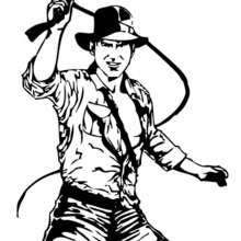 Indiana Jones mit seiner Lederpeitsche zum Ausmalen