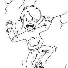 Junge mit Ballons zum Ausmalen