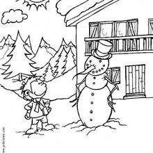Kind und Schneemann zum Ausmalen