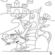 Ritter kämpft gegen Drache