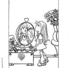 Mädchen mit Lippenstift zum Ausmalen