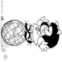 Mafalda spielt mit einem Globus zum Ausmalen