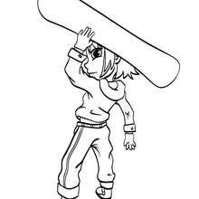 Junge mit Snowboard zum Ausmalen