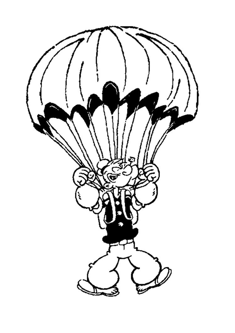Popeye Der Seemann Mit Fallschirm Zum Ausmalen Zum