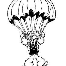 Popeye der Seemann mit Fallschirm zum Ausmalen