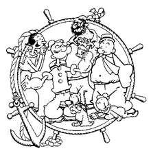 Popeye der Seemann mit seinen Freunden zum Ausmalen