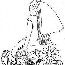 Prinzessin mit Blumen zum Ausmalen