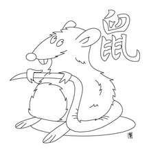 Das Jahr der Ratte zum Ausmalen