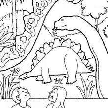 Dinosaurier, Stegosaurus und Kinder zum Ausmalen