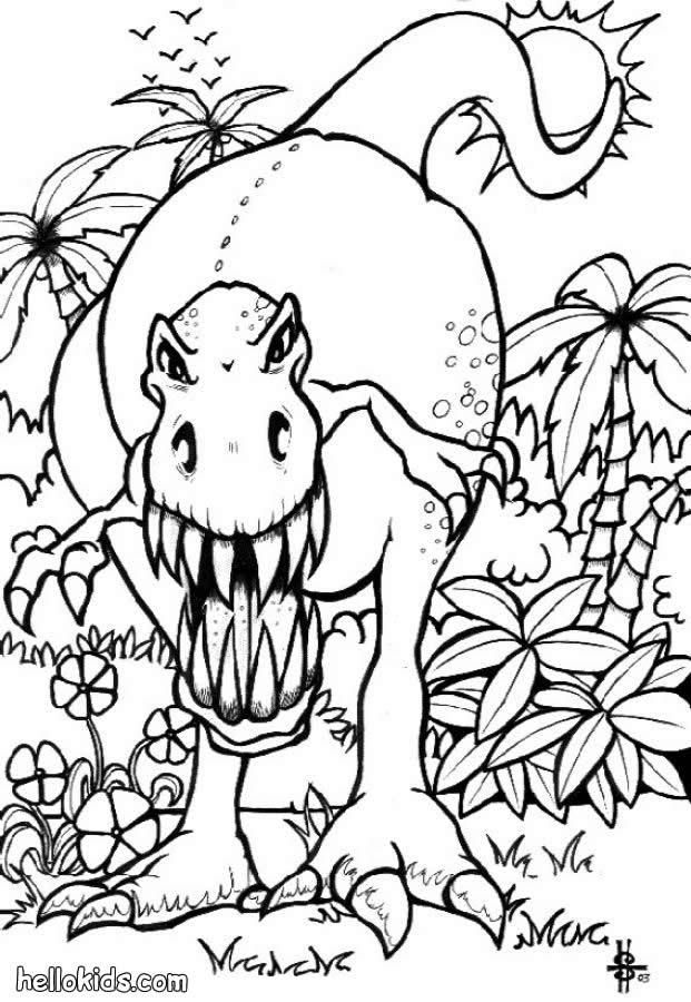 Furchteinflößender tyrannosaurus zum ausmalen zum ausmalen   de