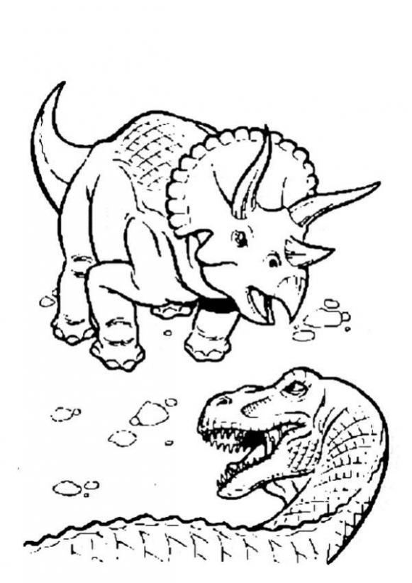 triceratops duelliert mit tyrannosaurus zum ausmalen zum