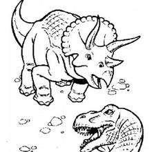 Triceratops duelliert mit Tyrannosaurus zum Ausmalen