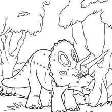 Triceratops und Bäume zum Ausmalen