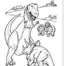 Tyrannosaurus kämpft mit Triceratops zum Ausmalen
