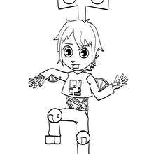 Matias trägt ein Roboterkostüm zum Ausmalen