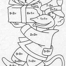 Affe mit Geschenken Ausmalen nach Zahlen