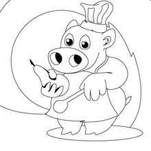 Schweinchen, der kleine Chefkoch zum Ausmalen