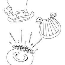 Goldtopf, Harfe und Hut zum Ausmalen
