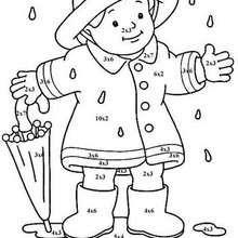 Kleiner Junge mit Regenschirm Ausmalen nach Zahlen