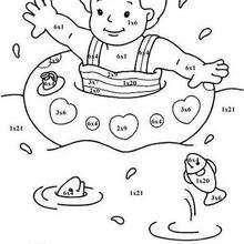Schwimmendes Baby Malen nach Zahlen