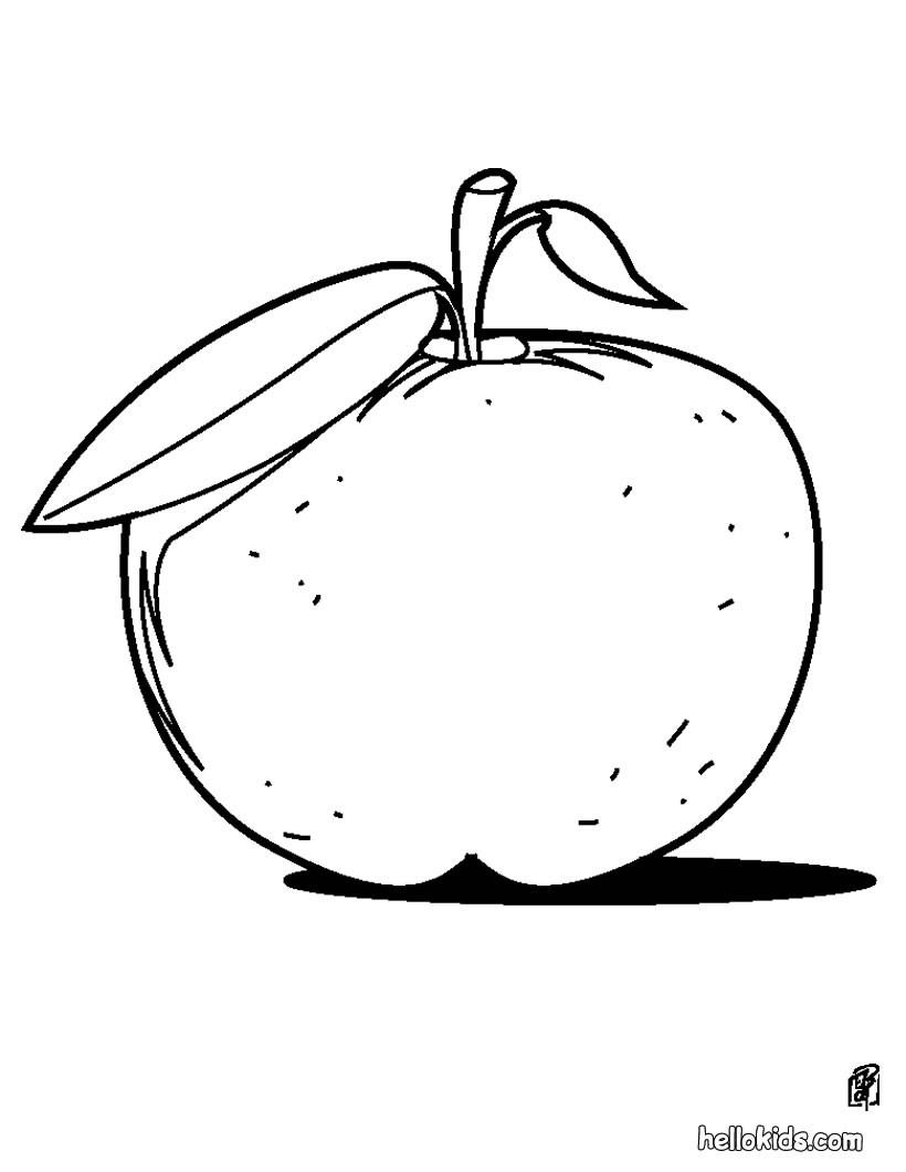 Apfel zum ausmalen zum ausmalen - de.hellokids.com