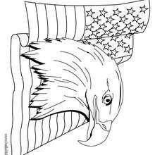 Weißkopfadler und US Flagge zum Ausmalen