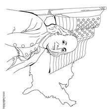 Benjamin Franklin und die US Flagge zum Ausmalen