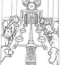 Hunde Mittagessenmaschine zum Ausmalen