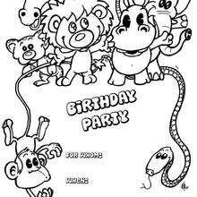 Tiere: Geburtstagsparty Einladung