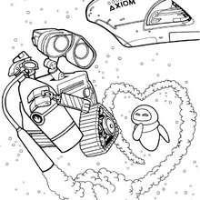 WALL-E und EVE im Weltall zum Ausmalen