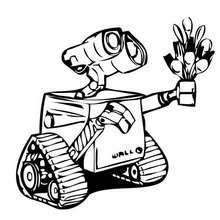 WALL-E schenkt EVE Blumen zum Ausmalen