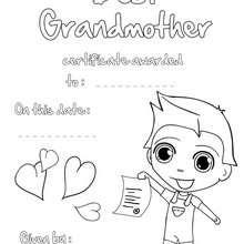Beste Großmutter Urkunde zum Ausmalen