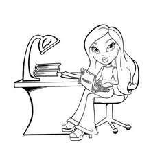 Bratz mit ihrem Computer zum Ausmalen