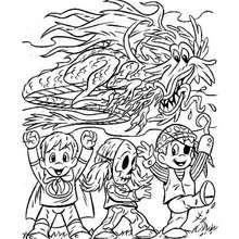 Halloween Drache und Kinder zum Ausmalen