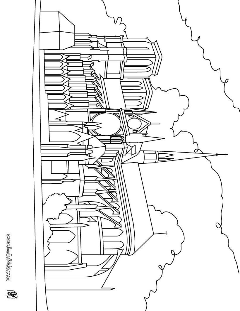 Notre dame kathedrale zum ausmalen zum ausmalen de for Cathedral coloring pages