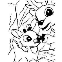 Rudolph und sein Vater Donner zum Ausmalen