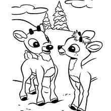 Rudolph und Freund zum Ausmalen