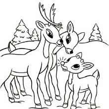 Rudolphs Familie zum Ausmalen