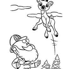 Rudolph das rotnasige Rentier springt zum Ausmalen