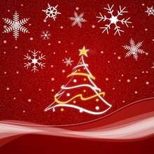 Roter Weihnachtsbaum Poster