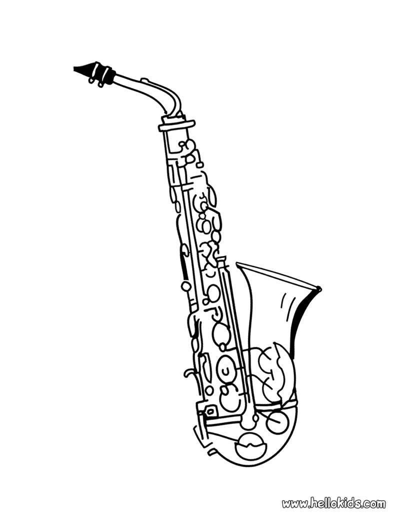 Saxophon zum ausmalen zum ausmalen - Saxophone dessin ...