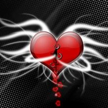 Schwarzes geflügeltes Herz Poster