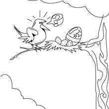 Ostervogel im Nest zum Ausmalen