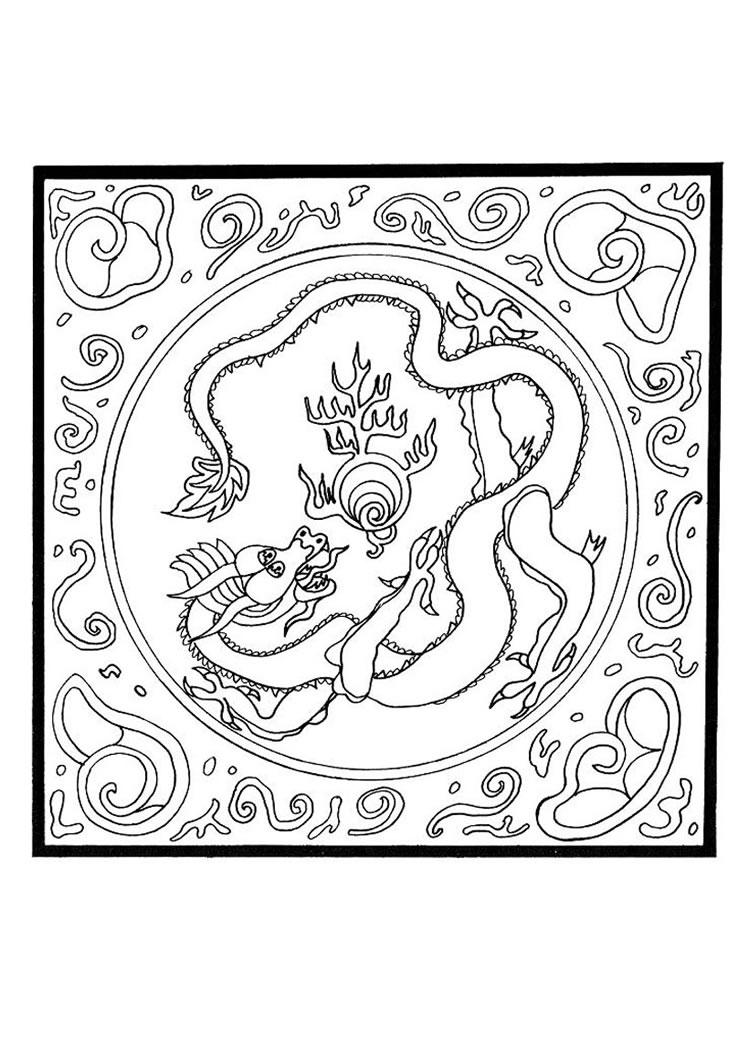 Drache mit perle mandala zum ausmalen - Mandala dragon ...