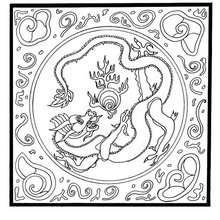 Drache mit Perle Mandala