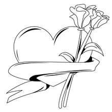 Herz mit Rosen zum Ausmalen