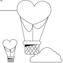 Valentinstag Heißluftballon zum Ausmalen